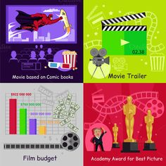 Cinema Set Banners Film Movie Design by robuart on @graphicsmag