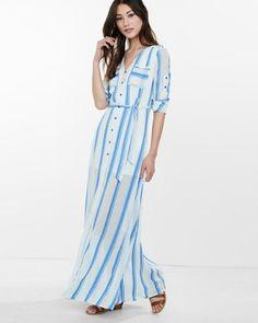 blue stripe shirt maxi dress from EXPRESS