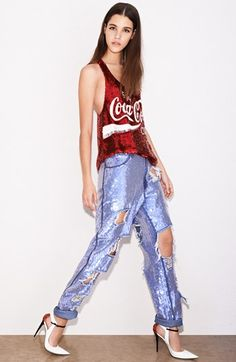 Ashish Sequin Tank & Jeans available at #Nordstrom