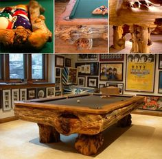 A sexy log pool table for our games room.