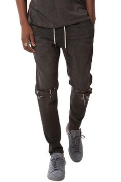 Destructed Tapered Pant w/ Side Zip Pockets in Charcoal