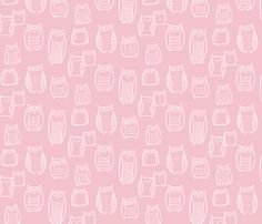 """""""Little"""" Night Owl Pink/White fabric by leanne on Spoonflower - custom fabric"""
