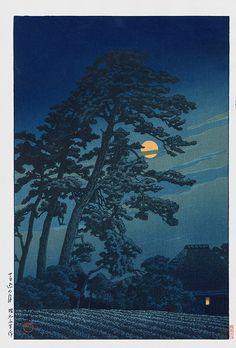 Moon at Moagoma, Tokyo by Kawase Hasui 1930 USD $325 Kawase Hasui Japanese Woodblock Moonlit & Snow Prints #japanese #woodblock #art