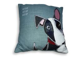 Hand made, appliqued tweed English Bull Terrier cushion