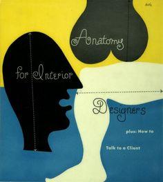Alvin Lustig's cover illustration for Julius Panero's Anatomy For Interior Designers, 1948