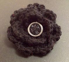 Crocheted may rose flower hair clip or brooch crochet flower hair clip barrette brooch broach vintage button black yarn by KeepaCap on Etsy