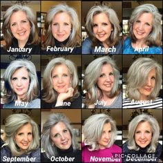 Transition to Gray Hair How Long Blue Grey Hair, Grey Hair Care, Long Gray Hair, Silver Grey Hair, Lilac Hair, Pastel Hair, Green Hair, Grey Hair Over 50, Pastel Pink