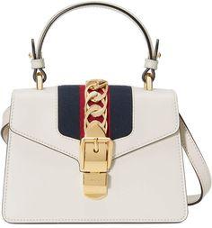 2dd7e23aa82 Gucci Mini Sylvie Top Handle Leather Shoulder Bag - White