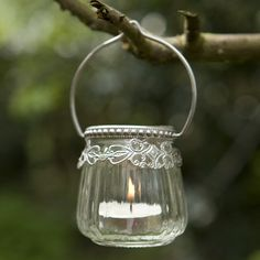 Victorian Glass Hanging T-light Holder