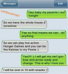 Hilarious Text About Hunger Games