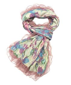 Love this Pink Floral Wool-Blend Scarf by East Cloud on #zulily! #zulilyfinds