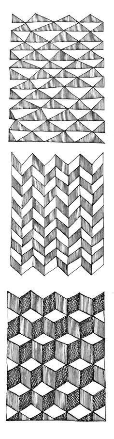 Pattern Drawing, Beautiful Patterns, 2d, Art Drawings, Stencils, Triangle, Paper, Illustration, Wall