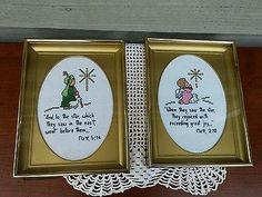 Pair of Vintage Frames and Finished Christmas Cross Stitch Verse Scripture