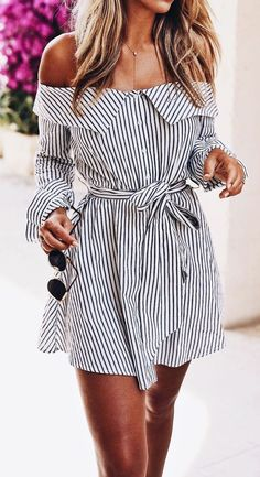 #summer #outfits / off the shoulder striped wrap dress