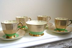 Green and Gold Art Deco Plant Tuscan China by Vintiqued on Etsy, $72.00