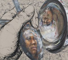 2009 TAEA gold seal, pen and mixed media, distorted self portrait by Ji Hyun Lee - reflective self-potrait Ap Drawing, Reflection Art, Ap Studio Art, A Level Art, High School Art, Ap Art, Gcse Art, Creative Portraits, Art Classroom