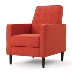 Noble House Deborah Muted Orange Fabric Mid Century Modern Recliner 12070 - The Home Depot Wall Hugger Recliners, Modern Recliner, Mid Century Modern Design, Modern Fabric, Club Chairs, Living Room Furniture, Furniture Decor, Mid-century Modern, Christopher Knight