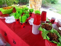 Ladybug Table spread for party - love the spotted cups as plasticware holders!