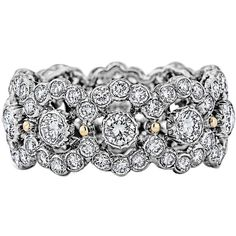 Preowned Buccellati Diamond Gold Band Ring ($11,750) ❤ liked on Polyvore featuring jewelry, rings, multiple, round ring, 18k diamond ring, diamond band ring, circle ring and circle diamond rings