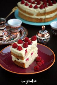 Kuchnia wegAnki: Bezglutenowy tort z jaglanym kremem różanym i malinami Tart, Sweet Tooth, Cheesecake, Gluten Free, Cooking Recipes, Herbs, Sweets, Vegan, Vegetables