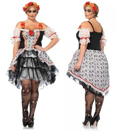 bee33b48b1f0b Day of the Dead Sugar Skull Dia de los Muertos Plus Size Costume 1X 2X 3X 4X