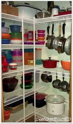 42 Trendy Organization Ideas For The Home Pantry Wire Shelving Kitchen Pantry Storage, Kitchen Pantry Design, Pantry Organization, Kitchen Decor, Organized Pantry, Kitchen Racks, Bathroom Organization, Organizing Ideas, Hanging Pots