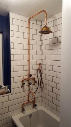 Excited to share this item from my shop: Copper pipe Shower and flexible hose Copper Shower Head, Copper Bathroom, Industrial Bathroom, Rustic Bathrooms, Bathroom Fixtures, Modern Bathroom, Small Bathroom, Bathroom Showers, Small Vintage Bathroom