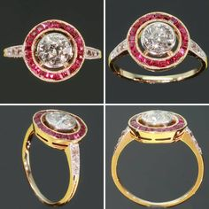 ca. 1920 Art Deco ruby diamond ring 1920s Vintage by adinantiquejewellery