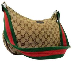 de5399b00848 Hobo bags are hot this season! The Gucci Vintage Purses/Designer Purses  Brown Large G Logo Print Canvas and Brown Leather with Red/Green Striped  Strap Hobo ...
