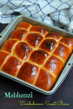 Mabhanzi, Zimbabwean Sweet buns More Zimbabwe Food, Zimbabwe Recipes, Zambian Food, Scones, Mango Dessert Recipes, Desserts, Around The World Food, South African Recipes, Africa Recipes
