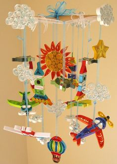 Boy Mobile - Baby Crib Mobile - Cloud Mobile - Sun Mobile - Quilled Airplane Rocket Balloon UFO Space Mobile Handmade 12