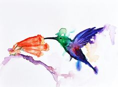 Hummingbird Art Print  Bird Watercolor Print