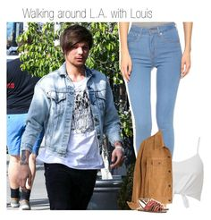 """Walking around L.A.with Louis"" by one-direction-makes-me-strong ❤ liked on Polyvore featuring Levi's, Madewell and Tory Burch"