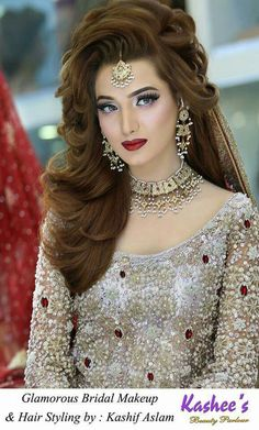 Kashee'S pakistani bridal makeup and hairstyling by kashif aslam kashees hairstyle, bride hairstyles, indian Indian Wedding Makeup, Wedding Makeup Tips, Bridal Makeup Looks, Bride Makeup, Bridal Beauty, Hair Makeup, Eye Makeup, Pakistani Bridal Hairstyles, Indian Hairstyles