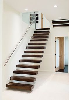 Floating Stairway Design, Pictures, Remodel, Decor and Ideas - page 2 House Staircase, Modern Staircase, Staircase Design, Rustic Stairs, Bed Frame Design, Wooden Staircases, Stairways, Traditional Staircase, Floating Staircase