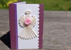 Handmade Paper Quilling Gift Enclosure Cards w/ Envelopes (Set of 3) -  Angel w/ Rose