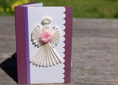 Handmade Paper Quilling Gift Enclosure Cards w/ Envelopes (Set of 3) -  Angel w/ Rose