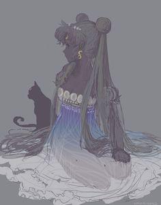 Princess Serenity and Luna | by honghong @ Pixiv.net // #sailormoon