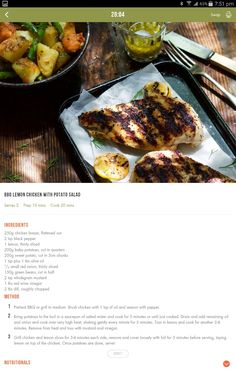 BBQ lemon chicken with potato salad Healthy Eating Recipes, Clean Eating Recipes, Healthy Cooking, Diet Recipes, Cooking Recipes, 28 By Sam Wood, 400 Calorie Meals, Diet Ideas, Meal Ideas