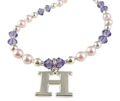 Initial Charm Necklace for Girls - Tanzanite Purple & Light pink - choose from many colors, personalized Christmas Names, Christmas Gifts For Girls, Initial Charm Necklaces, Girls Necklaces, Name Bracelet, Initials, Trending Outfits, Charmed, Unique Jewelry