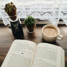 perfect place to read. book and coffee