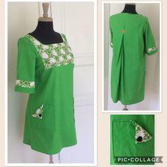 Ett gammalt ärtgrönt lakan tyckte jag kunde passa som grund till en klänningsmodell jag funderade mig fram till, då jag även hittade en bra kulör på en restbit tyg som jag tyckte kunde fungera ihop…