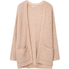 Chunky Knit Cardigan ($26) ❤ liked on Polyvore featuring tops, cardigans, jackets, outerwear, sweaters, cable knit cardigan, mango tops, mango cardigan, thick cable knit cardigan and pink long sleeve top