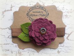 Felt Flower Headband in Plum Purple Elastic Fall Colors for Baby, Toddlers, Girls, Teens- Autumn, Winter Wool Hair Accessory or Hair Clip by Ribbonhabit on Etsy https://www.etsy.com/listing/161570040/felt-flower-headband-in-plum-purple