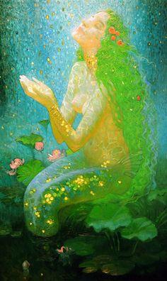Holding the Moon concept (Victor Nizovtsev). Fantasy Mermaids, Mermaids And Mermen, Fantasy Kunst, Fantasy Art, Victor Nizovtsev, Mermaid Artwork, Mermaid Paintings, Water Fairy, Mermaid Fairy