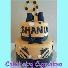Bee Themed 2 Tier Cake In Vanilla Bean For A Birthday Cakebabycupcakes