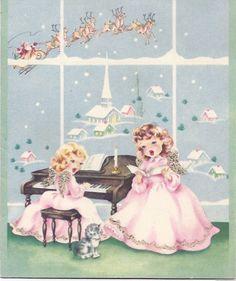 Vintage Christmas Greeting Card Angels singing