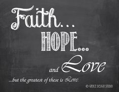Inspirational Chalk Art - Faith Hope & Love Print Chalkboard art - pinned by pin4etsy.com