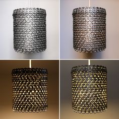 A lamp shade made from soda tabs.  I love it!  Looks like chain mail.