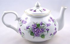 "Crown Victorian China - Fine english bone china teapot ""Wild Violet Chintz."""